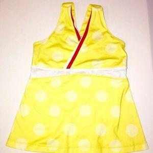 Lululemon Yellow Polka Dot Tank Top Bra Size 8